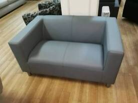 Grey leather 2 seater sofa with metal legs