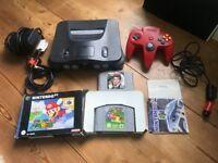 Nintendo 64 + 1 x Red Controller + Goldeneye + Mario Kart (in box!)
