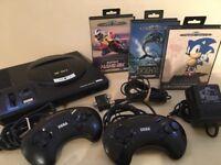 SEGA Mega Drive Console + 2 Controllers + 3 Games inc Sonic The Hedgehog + All Leads