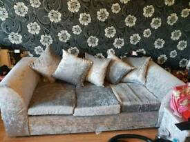 Crushed velvet silver suite with extra storage bkx