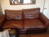 STILL AVAILABLE !! LARGE BROWN REAL LEATHER SOFA, GREAT QUALITY