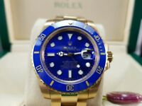 New boxed with papers gold bracelet blue dial blue ceramic bezel Rolex submariner watch Automatic