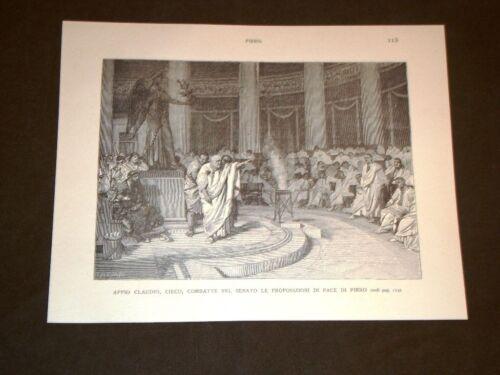 Storia di Roma Appio Claudio Cieco Senato pace Pirro Incisione di L. Pogliaghi