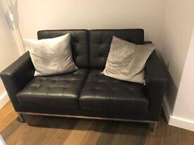 Bargain loveseat sofa - classic black faux leather