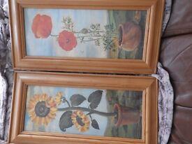 Pair of glazed/pine framed Sunflower and Poppy prints