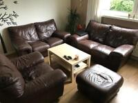 TWO 2 SEATER SOFAS + ARMCHAIR & STOOL **MUST GO ASAP**