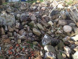 Building stone, Sandstone, granite, assorted sizes types, some corner stones, round stones.