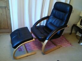 leather chair with wooden frame & footstool