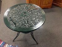 Green Round Metal Bistro Garden Table- CHARITY