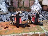 2x HAND BUILT TATTOO MACHINES RED COILS 8 WRAP LINER 10 WRAP HALF STILTED SHADER