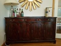 Dark wood sideboard - good condition - 3 drawers and 3 cupboards