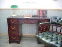 Green Leather Inlay Desk and Chesterfield Captains Chair