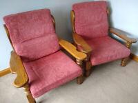 Two Oak Frame Armchairs