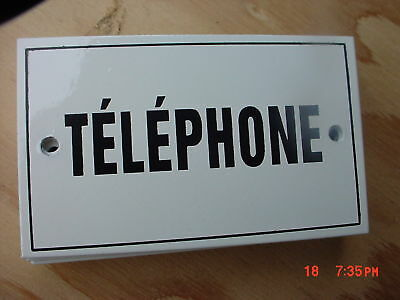 (French  Metal  Enamel  Plaque Sign  TELEPHONE)
