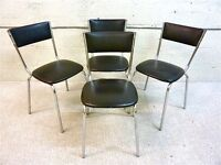 Keron of London vintage designer chrome and black vinyl retro chairs from the 1970's