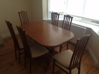 extendable oak dining table 150 cm and 6 chairs - great opportunity