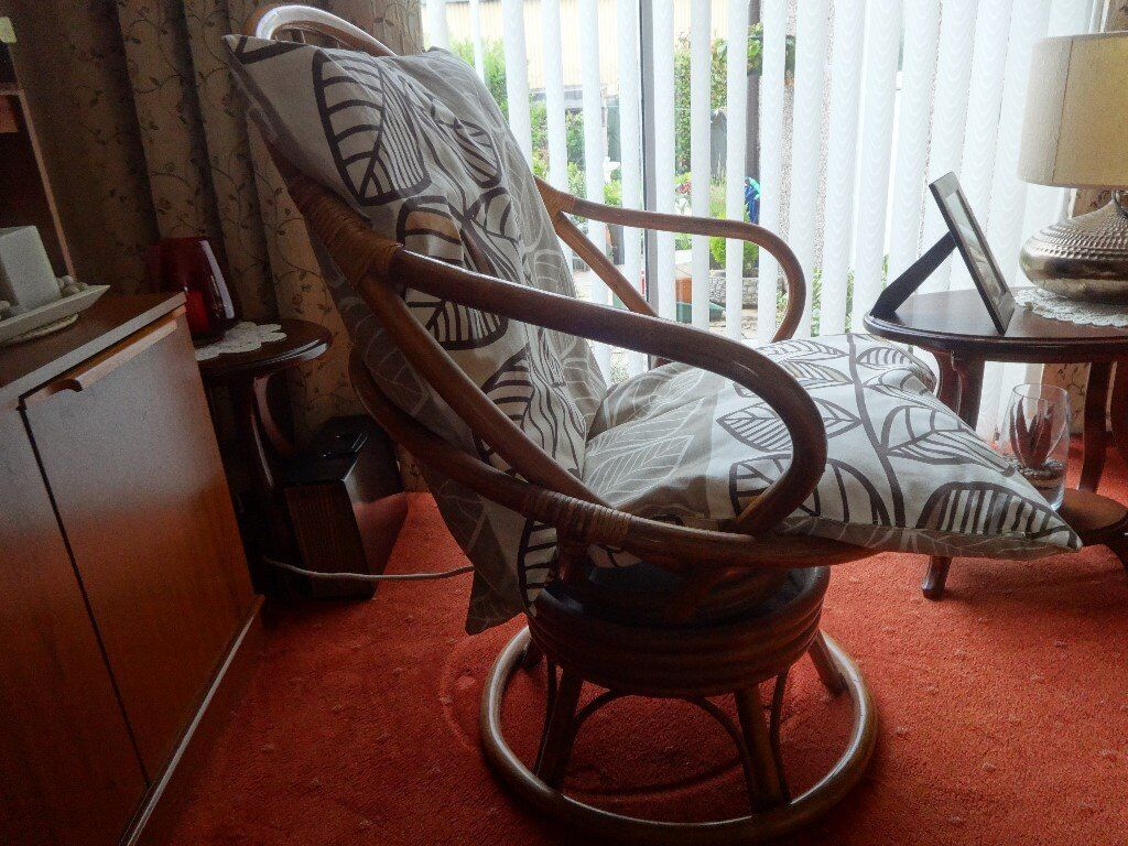 cane rocking swivel chair with cushionsin Coventry, West MidlandsGumtree - cane swivel rocking chair with 2 cushions, excellent condition, cane be painted to suit décor, £30 ono