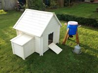 Chicken coop (plastic), Feeder and metal drinker, all in really good condition.