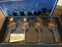4 Italian lead crystal liqueur glasses