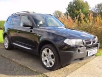 !!FULL SERVICE HISTORY!! 2005 BMW X3 3.0D SPORT / 12 MONTHS MOT / BLACK WITH BEIGE LEATHER / MUST SE