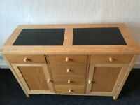 Marble top wooden chest of drawers