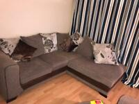 DFS corner sofa/cuddle chair and footstool