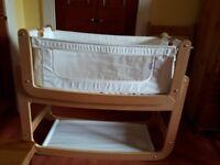 Snuzpod bedside crib natural wood