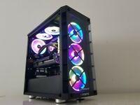 Watercooled 4k Gaming pc Ryzen 7 3700x 16gb Rx5700xt ssd512gb hdd2tb vr desktop computer workstation