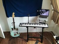 ICON iKeyboard 66 key MIDI keyboard with Workstation Stand & Squire Jaguar Electric Guitar