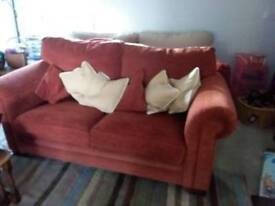 Pair of Alstons Red Two/ Three Seater Sofas