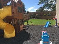 Rubber play bark chippings- Safe surface for children's play area- cost £430.00