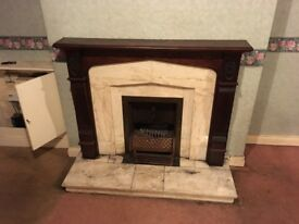 Fireplace. Marble and mahogany surround free