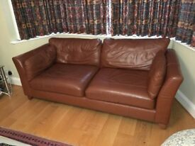 Leather sofas - Two 3/4 seater brown sofas in very good condition (from M&S Home). Collection only.