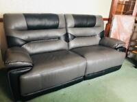 Black and grey leather sofa