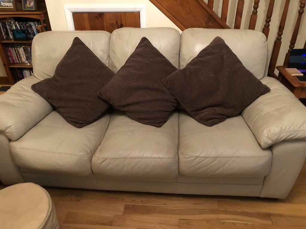 Cream Leather Sofas One 3 Seater One 2 Seater With Brown Cushions Footstool In Barnstaple Devon Gumtree