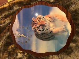 Wooden Tiger Clock