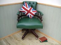 Stunning Over Sized Green Chesterfield Captains Chair