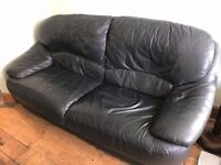 Free Dark Green Leather Sofa - Buyer Must Collect