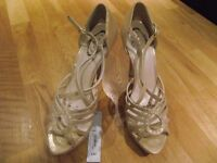 """Gold party shoes with 5"""" heel , Size 7, brand new with tags"""