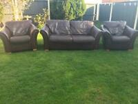 Next brown leather 3 piece sofa suite can deliver