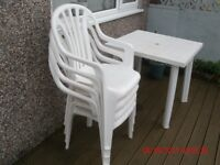GARDEN TABLE & 4 CHAIRS PLASTIC