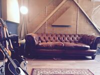 John Lewis Chesterfield antiqued leather sofa Worth 2700 new!