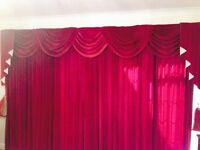 Full Length Fully Lined Velvet Curtains with Swags & Tails & Tie Backs - Excellent Condition