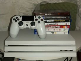Boxed Playstation 4 Pro White 1TB with Games, Great Condition