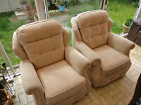 2 G-PLAN armchairs- beige-fabric-excellent condition