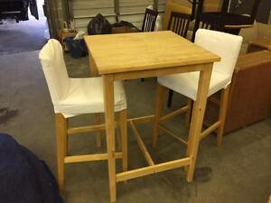 1 set of IKEA Birch Square-Top Bar Table and 2 Matching Bar stools