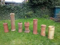 7 x Old CHIMNEY POTS - all different designs, will sell seperately - Terracotta / Crown / Vented