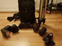 Fujifilm x-pro 1 DSLR Camera with lenses, tripod, hot shoe flash, 16GB SD Card and camera bag