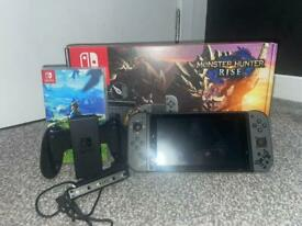 Nintendo Switch W Improved Battery (Monster Hunter Edition) (Includes 2 Games)