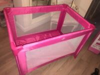 Red kite travel cot pink
